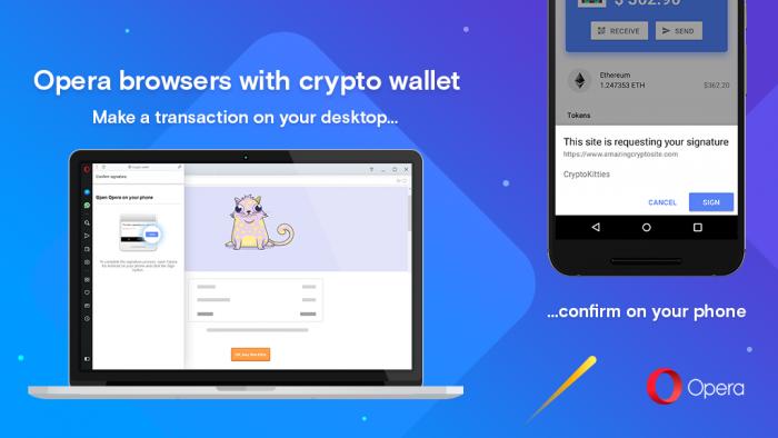 Součástí nového prohlížeče Opera je i integrovaná Crypto peněženka